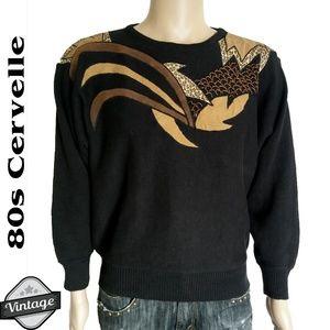 Vintage 80s Cervelle Embellished Knit Sweater Sz L